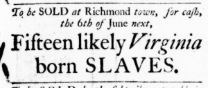 May 12 - Virginia Gazette Purdie and Dixon Slavery 1