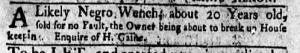 May 16 - New-York Gazette Weekly Mercury Slavery 3