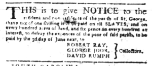 May 23 - South Carolina Gazette Slavery 3