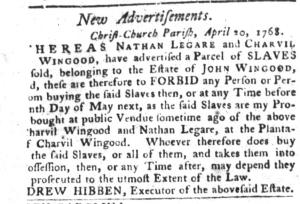 May 3 - South-Carolina Gazette and Country Journal Slavery 9
