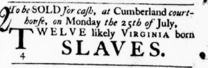 Jul 14 - Virginia Gazette Purdie and Dixon Slavery 1
