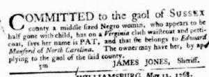 Jul 7 - Virginia Gazette Purdie and Dixon Slavery 6