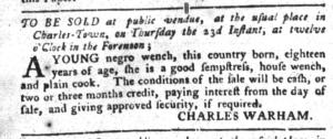 Jun 14 - South-Carolina Gazette and Country Journal Slavery 1
