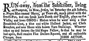 Jun 20 - New-York Gazette Weekly Mercury Slavery 2