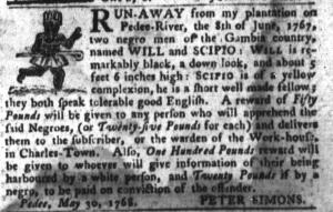 Jun 21 - South-Carolina Gazette and Country Journal Slavery 2