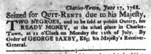 Jun 21 - South-Carolina Gazette and Country Journal Slavery 3
