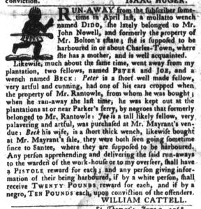 Jun 21 - South-Carolina Gazette and Country Journal Slavery 6