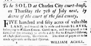 Jun 23 - Virginia Gazette Purdie and Dixon Slavery 1