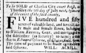 Jun 23 - Virginia Gazette Rind Slavery 1