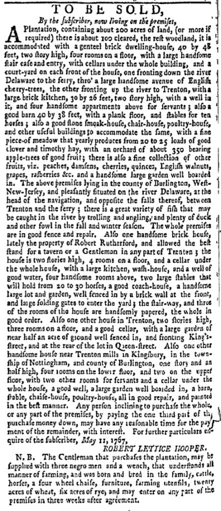 Jun 6 - New-York Gazette Weekly Mercury Slavery 5