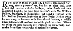 Aug 1 - New-York Gazette Weekly Mercury Slavery 1