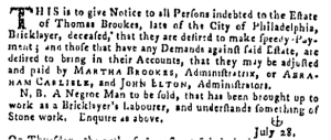Aug 11 - Pennsylvania Gazette Supplement Slavery 2