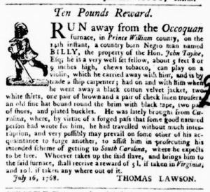 Aug 11 - Virginia Gazette Purdie and Dixon Slavery 5