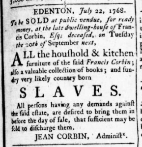 Aug 11 - Virginia Gazette Rind Slavery 1