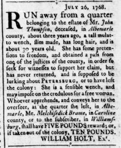 Aug 11 - Virginia Gazette Rind Slavery 9