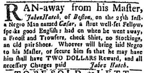 Aug 4 - Boston Weekly News-Letter Slavery 3