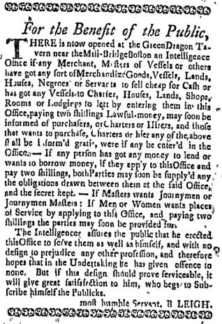 Aug 4 - Boston Weekly News-Letter Slavery 5