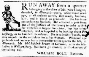 Aug 4 - Virginia Gazette Purdie and Dixon Slavery 5