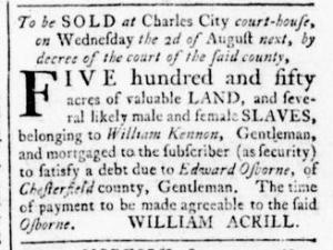 Jul 21 - Virginia Gazette Rind Slavery 1