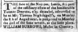 Jul 22 - South Carolina and American General Gazette Slavery 1