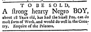 Jul 25 - Boston Evening-Post Slavery 1