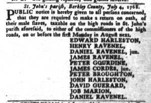 Jul 26 - South-Carolina Gazette and Country Journal Slavery 2