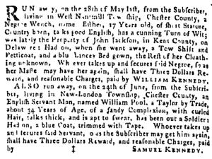 Jul 28 - Pennsylvania Gazette Supplement Slavery 2