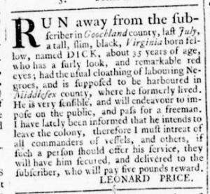 Jul 28 - Virginia Gazette Rind Slavery 8