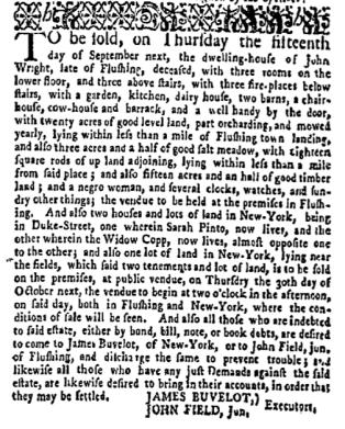 Aug 1 - New-York Gazette Weekly Mercury Supplement Slavery 1