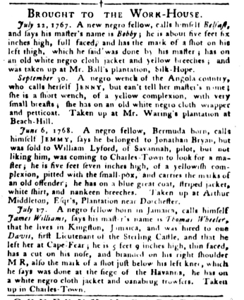 Aug 16 - South-Carolina Gazette and Country Journal Supplement Slavery 5
