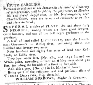 Aug 16 - South-Carolina Gazette and Country Journal Supplement Slavery 6