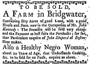 Aug 18 - Boston Weekly News-Letter Slavery 1
