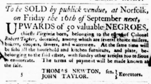 Aug 18 - Virginia Gazette Purdie and Dixon Slavery 2
