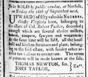 Aug 18 - Virginia Gazette Rind Slavery 1