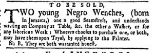 Aug 22 - New-York Gazette Weekly Mercury Slavery 3