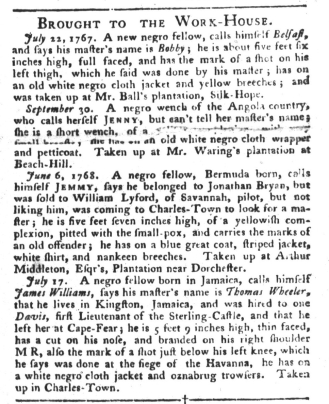 Aug 23 - South-Carolina Gazette and Country Journal Slavery 6