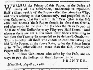 Aug 4 - 8:4:1768 New-York Journal