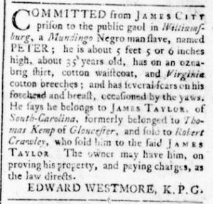 Sep 1 - Virginia Gazette Rind Slavery 4