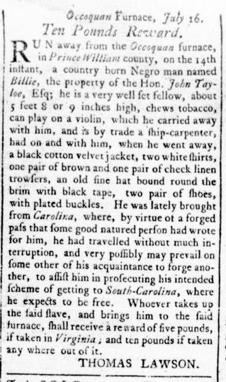 Sep 1 - Virginia Gazette Rind Slavery 8