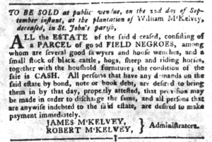 Sep 13 - South-Carolina Gazette and Country Journal Slavery 4