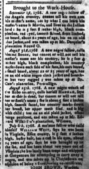 Sep 16 - South-Carolina and American General Gazette Slavery 1