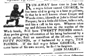 Sep 20 - South-Carolina Gazette and Country Journal Slavery 1