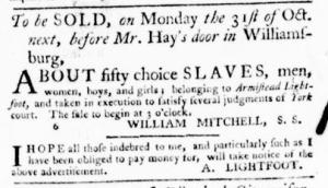Sep 22 - Virginia Gazette Purdie and Dixon Slavery 1