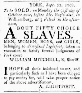 Sep 22 - Virginia Gazette Rind Slavery 1