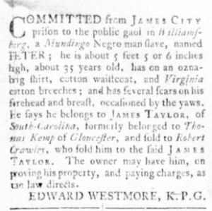 Sep 22 - Virginia Gazette Rind Slavery 13