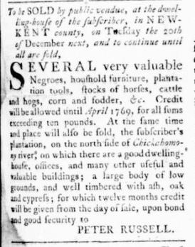 Sep 22 - Virginia Gazette Rind Slavery 3