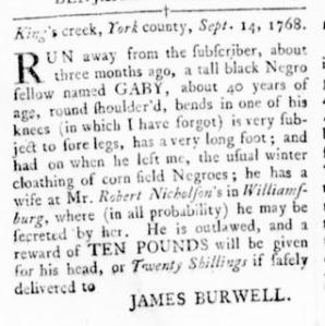 Sep 22 - Virginia Gazette Rind Slavery 7