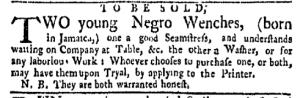 Sep 5 - New-York Gazette Weekly Mercury Slavery 2