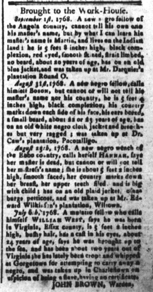 Sep 9 - South-Carolina and American General Gazette Slavery 1