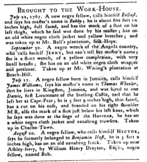 Oct 11 - South-Carolina Gazette and Country Journal Supplement Slavery 1
